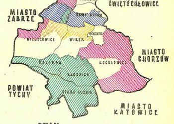 Rysunek - stan zaopatrzenia w wodę w poszczególnych dzielnicach miasta w roku 1954